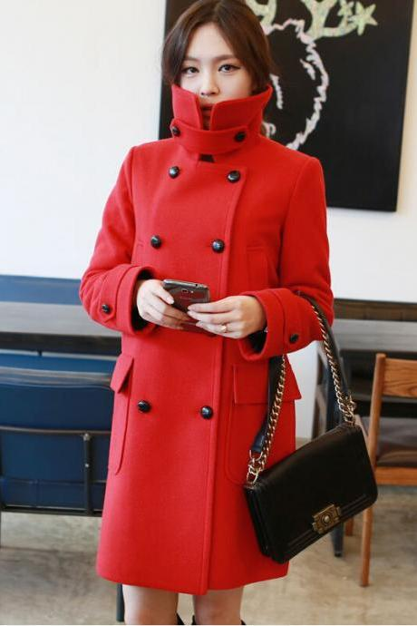 2016 Autumn/Winter Women's Red Outerwear women winter woolen Coats