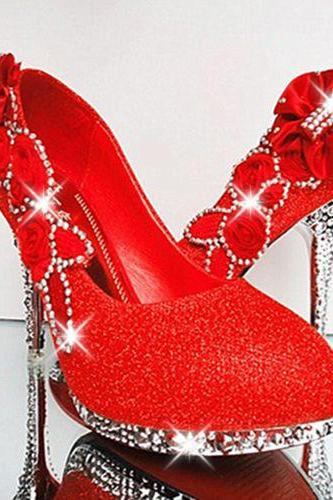 2015 Red Luxury Bling Women Pumps 10cm High Heels Wedding Shoes Handmade Flowers Crystals Pointed Toe High Heel Cinderella