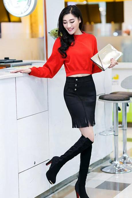 2015 Autumn/ Winter New Style Sexy Fashion Skirt Women Striped High Waist