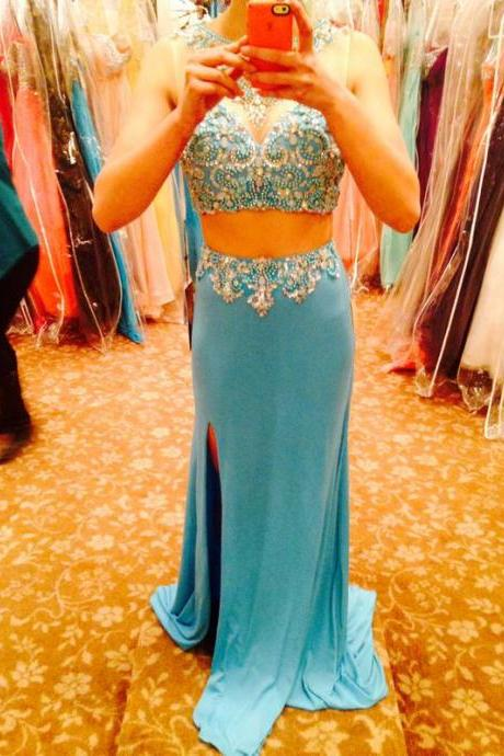 2016 Turquoise Two Pieces Mermaid Prom Dresses Sexy Pearls Crystals Side Slit Formal Evening Party Gowns Vestidos