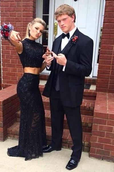 2016 Black Two Pieces Lace Prom Dresses Appliques Formal Evening Party Gowns Vestidos