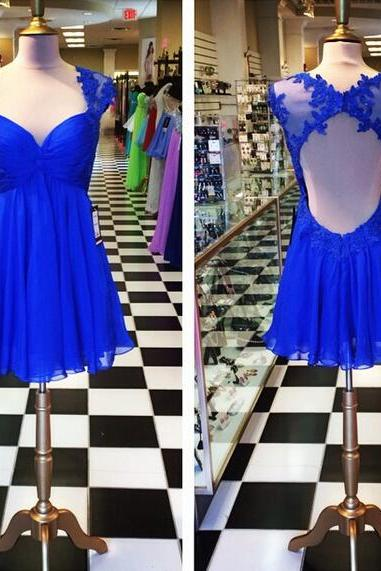 2016 Royal Blue A Line Chiffon Prom Dresses Lace Keyhole Back Homecoming Cocktail Party Gowns Vestidos
