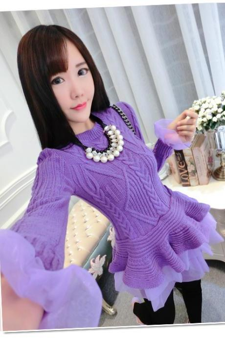 2016 In Stock Cheap Purple Knit Sweater Lace Women Dresses Warm Winter Spring Casual Gowns Vestidos AB549