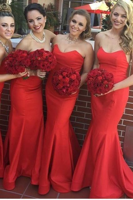 vestido de festa 2016 Red Long Cheap Bridesmaid Dresses Sweetheart Off the Shoulder Chiffon Wedding Party Dress