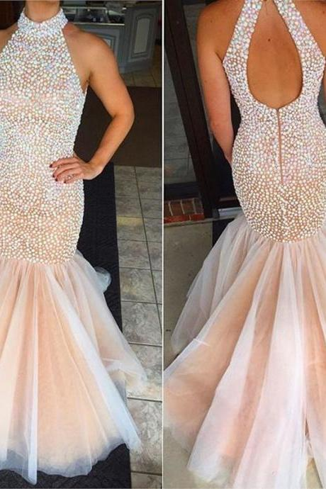 2016 New Fashion Crystals Prom Dresses Sexy Beaded High Neck Backless Formal Pageant Gowns Fashionable Mermaid Party Dress
