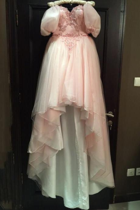2016 Fashion Pink Off the Shoulder Appliqued Half Sleeve Short Front Long Back Prom Dresses