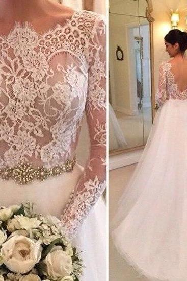 2016 Tulle Wedding Dresses Crew Neck Sheer Long Sleeve Lace Accents Crystals Beading Bridal Gowns Wedding Gowns