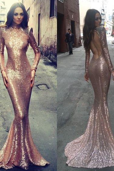 2016 Michael Costello Mermaid Sequins Lace Prom Dresses High Neck Long Sleeve Formal Evening Party Gowns Vestidos