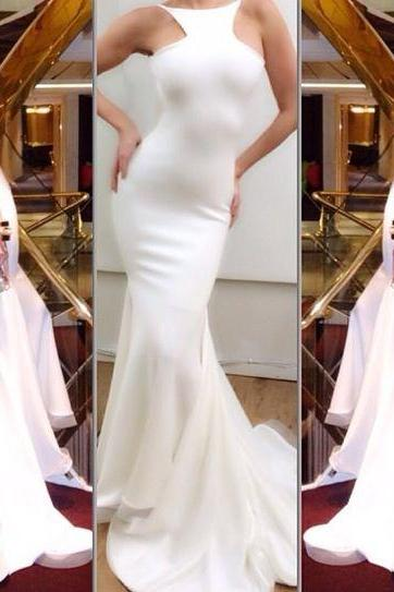 2016 White Mermaid Lycra Prom Dresses Sleeveless Formal Evening Party Gowns Vestidos