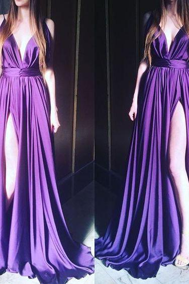 2016 A Line Chiffon Prom Dresses V Neck Side Slit Pleat Formal Evening Party Dress Gowns