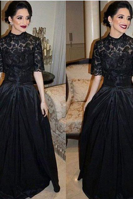 2016 Black A Line Lace Prom Dresses Evening Dress Party Dresses Formal Gowns