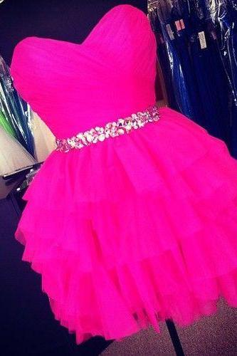 Hot Pink Sweetheart Beaded Crystals Prom Dress Sleevless Mini Short Homecoming Party Dress Gowns