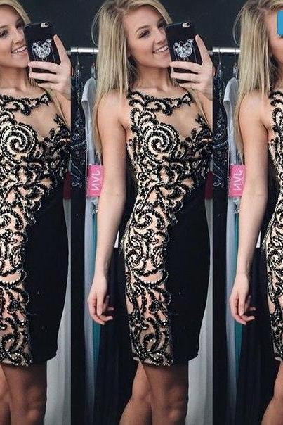 2016 Bling Bling Beaded Crystals Sheath Homecoming Dress Prom Dress Party Dress