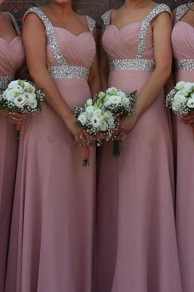 Blush A Line Chiffon Bridesmaid Dresses Ruched Beading Crystals Prom Dress Evening Party Dress