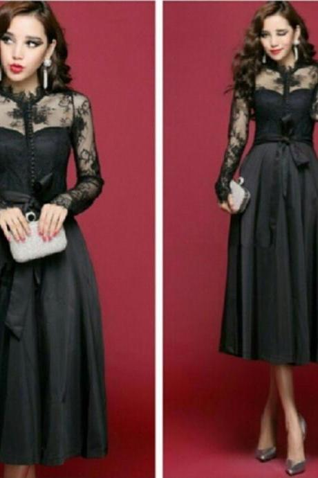 Vintage Tea Length prom dress black long lace sleeves party gown custom made vestido de festa evening dress