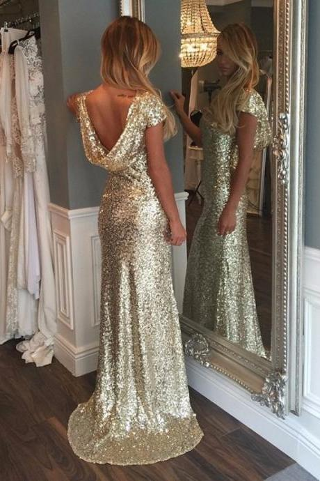 Cheap Gold Sequin Bridesmaid Dresses Mermaid Backless Shiny Long Party Dress Short Sleeves Bridesmaid Gowns Vestidos de dama