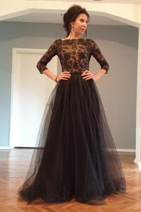Black Evening Dresses, Lace Prom Dresses,Backless Party Dress, Long Formal Dress