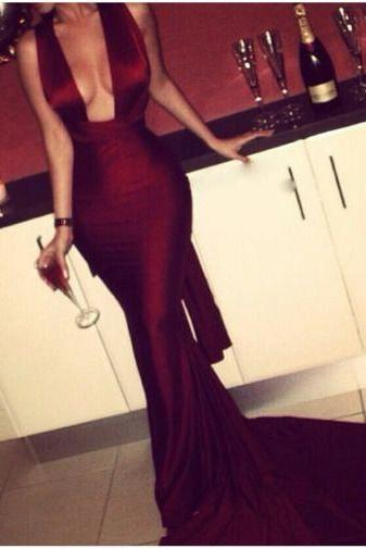 Mermaid Evening Dresses, Burgundy Prom Dress, Sexy Party Dress, Long Formal Dresses