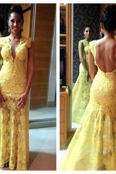 Yellow Mermaid Evening Dresses, Lace Prom Dress, Sexy Party Dress, Long Formal Dress