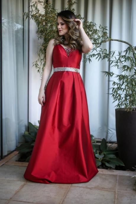 A Line Beading Crystals Evening Dresses, Red Prom Dress, Sexy Satin Party Dress, Long Formal Dress