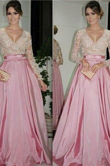 A Line Pink Evening Dresses, Lace Prom Dress, Sexy Deep V Neck Party Dress, Long Formal Dress