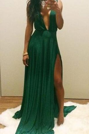 A Line Chiffon Evening Dresses, Green Prom Dress, Sexy Deep V Neck Side Slit Pleat Party Dress, Long Formal Dress