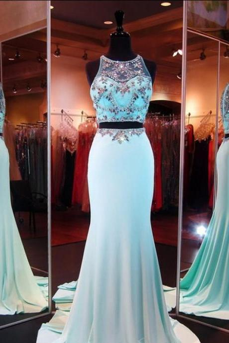 Gorgeous Crystal Prom Dresses 2016 Hot Selling Two Pieces Prom Gowns Sleeveless Floor Length Mermaid Dress Long Robe De Soiree