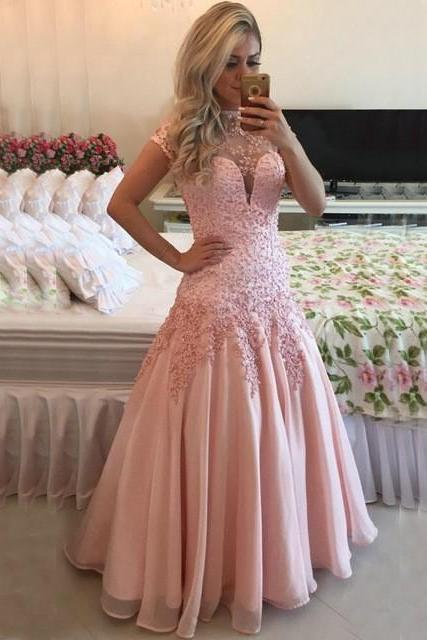 High Neck Cap Sleeves Pink Prom Dresses 2016 Sexy Open Back Sheer Top Lace Applique Long Evening Dress vestidos de fiesta