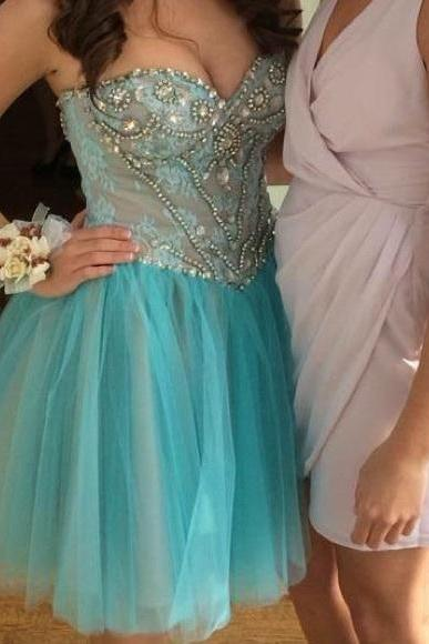 Turquoise A Line Organza Prom Dresses Sweetheart Beading Crystals Homecoming Dress Party Cocktail Dress Gowns