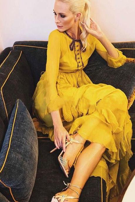 High Quality Cheap Runway Dress Yellow Maxi Dress Long Casual Dresses Gowns