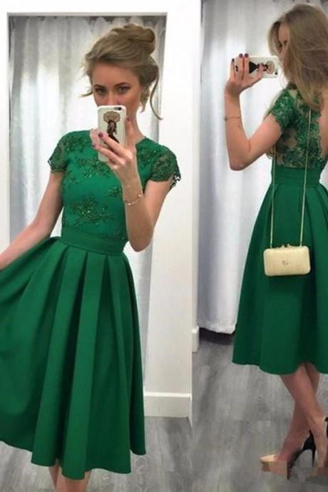 Backless Homecoming Dress Cocktail Dresses Dark Green A Line Appliques robe de cocktail Tea Length Party Gowns V Back Lace Formal Dress