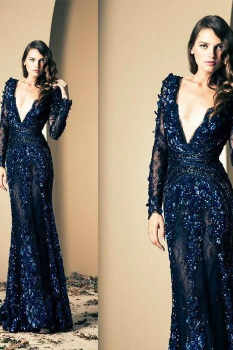 Ziad Nakad Royal Blue Prom Dresses Deep V Neck Hand Made Flowers Long Sheer Sleeve Mermaid Illusion Lace Long Evening Dresses