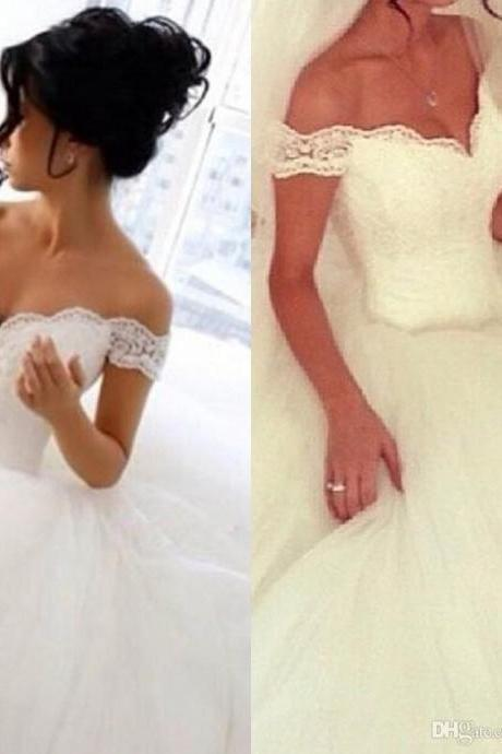 2017 Vestido De NOiva Princess Wedding Dresses Sexy Ball Gown Off-Shoulder Backless Top Lace Appliques Shiny Court Train Bridal Gowns