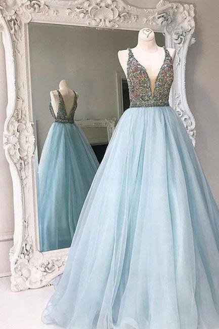 unique v neck tulle sequin beading long prom dress, blue evening dress