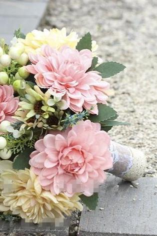 Handmade Flowers Colorful Pink Wedding Bouquet Bridal Bouquets