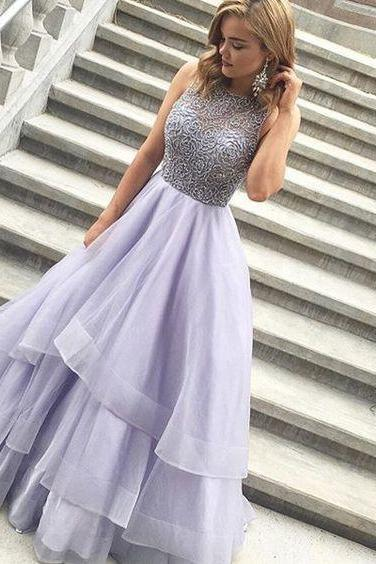Charming Prom Dress,Tulle Prom Dress,Ball Gown Prom Dress,O-Neck Prom Dress