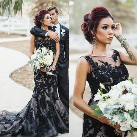 Black Engagement Dress 2018 Classy Lace Applique Mermaid Evening Dresses Long Prom Dress Robe De Soiree Longue Illusion Tulle Formal Gowns