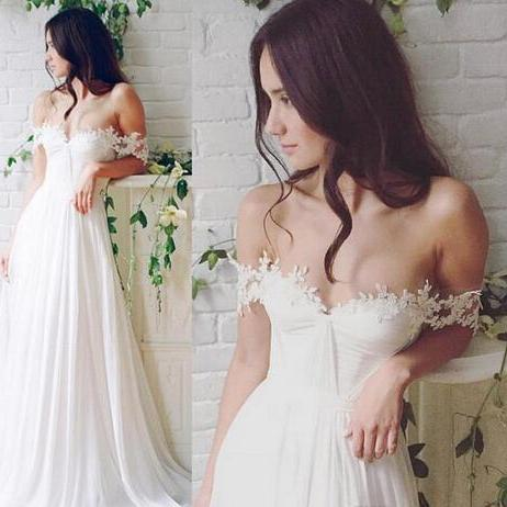 Bohemian Beach Wedding Dress 2018 Robe De Mariee Lace Applique Summer Cheap Bridal Wedding Gowns Chiffon Long Wedding Party Dresses