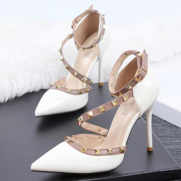2018 In Stock White Women Pumps High Heels Fashion Pointed Toe High Heels
