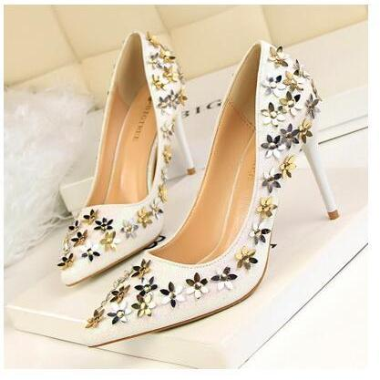 Gold and Silver Floral Applique High Heel Bridal Pumps, Wedding Shoes