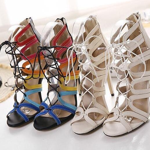 fashion women lace up cut-outs sandals wedding shoes high heels bridal shoes for evening/prom/party
