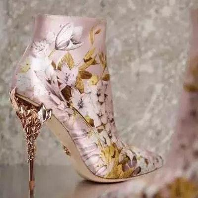 Floral Printed Silk High Heel Bridal Boots, Wedding Shoes