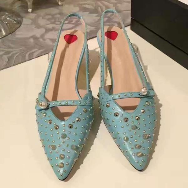 sky blue/green/black high heels rivet wedding shoes women genuine leather pointed toe shoes for weedding party evening