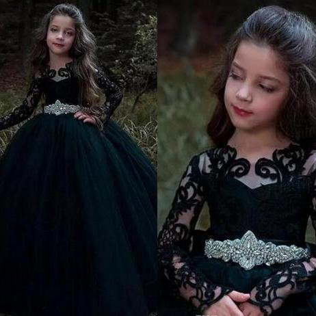 2018 Black Jewel Princess Party Gowns Long Illusion Sleeves Flower Girl Dresses With Peplum Ball Gowns Back Zipper Custom Made Birthday Gown