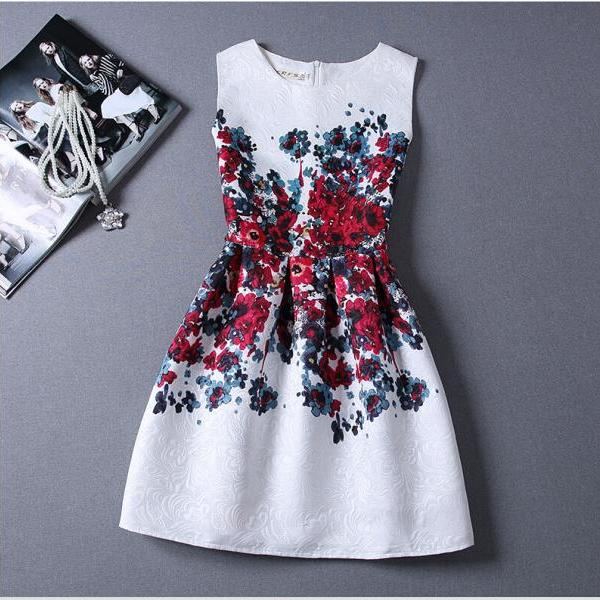 2016 A Line New In Stock Women Dresses Print Casual Dresses Gowns