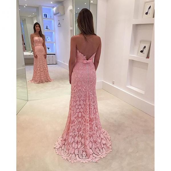 2016 Pink Mermaid Prom Dresses Strapless Lace Sleeveless Evening Party Dresses Gowns Vestidos