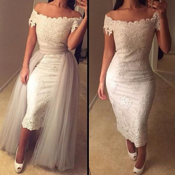 2016 White Sheath Prom Dresses Off the Shoulder Lace with Sash Evening Party Dresses Gowns Vestidos