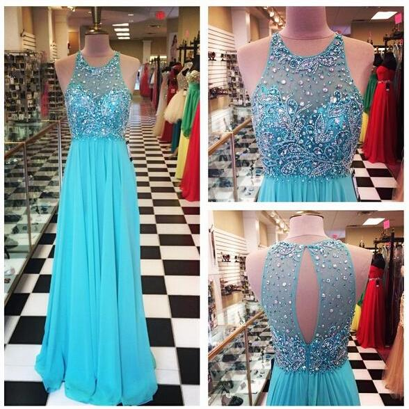 2016 A Line Chiffon Prom Dresses Crew Neck Beaded Crystals Pleat Sleeveless Evening Party Dresses Gowns Vestidos