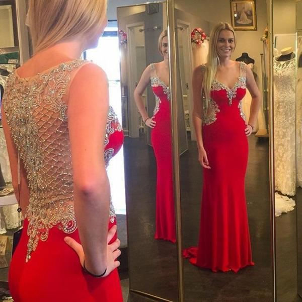 Charming Hot Red Evening Dresses beaded crystal sexy v neck 2016 prom dresses floor length party dress vestidos de festa