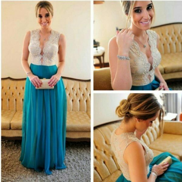 Fashion Blue Prom Dress beaded crystal long evening dress vestido de festa custom made formal party gown